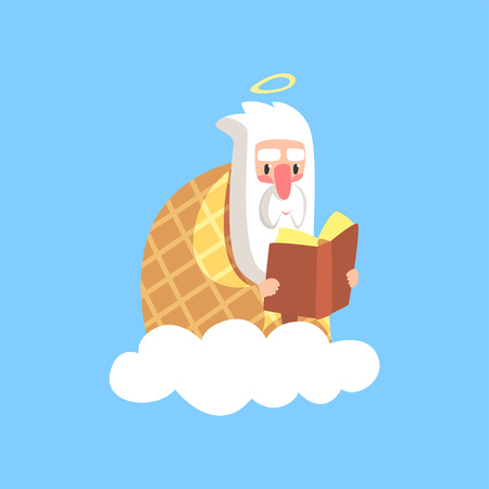 Cute illustration of god character wrapped in plaid reading book. Creator is resting. Almighty bearded man on a cloud. Christian religious theme for children. Flat cartoon vector icon isolated on blue Illustration