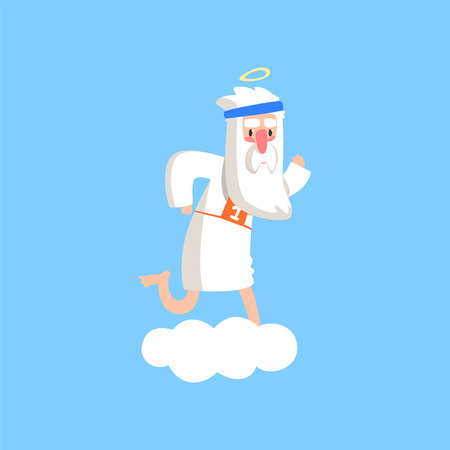 Cute god character standing preparing for a marathon. Almighty bearded man running on fluffy white cloud. Christian theme cartoon illustration for children. Flat vector isolated on blue background. Illustration