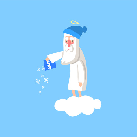 Adorable god cartoon character in action on white cloud. Happy Lord wearing winter hat and throwing snow on the ground. Heaven working days. Vector for religious greeting card, poster or print. Ilustração