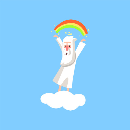 Creator cartoon character in action on white cloud. Smiling god creating a rainbow. Religious flat vector illustration for book, card, poster or badge.