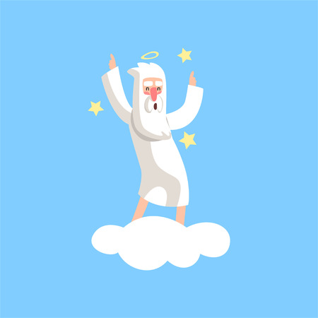Happy bearded god character dancing on white cloud surrounded with stars. Illustration for religious greeting card, poster or print. Flat vector isolated on blue.