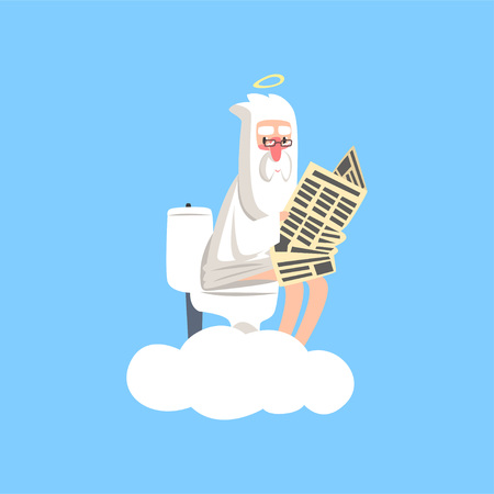 God on white cloud with halo over his head sitting on the toilet and reading newspaper. Christian religious theme. Flat vector isolated on blue background. Ilustração