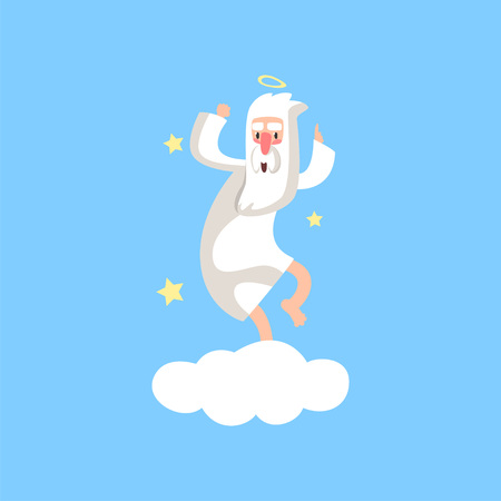 Happy bearded god character having fun. Almighty creator with halo dancing on white cloud surrounded with stars. Flat vector isolated on blue.