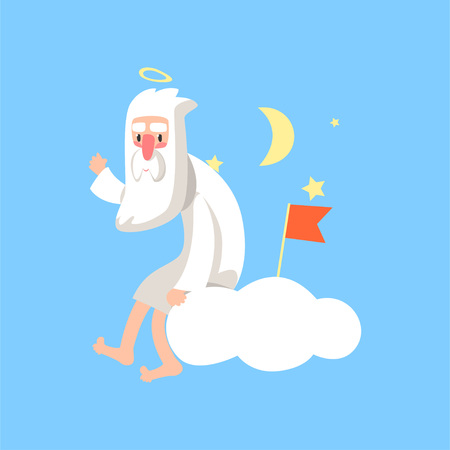 Illustration of bearded god character sitting on white cloud and surrounded with night stars, moon and red flag. Flat vector isolated on blue.
