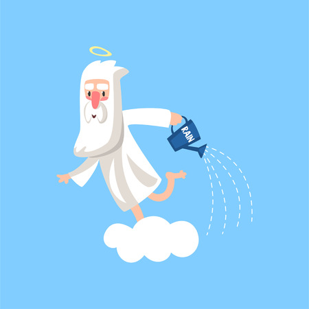 Happy bearded cartoon character of god on the cloud watering the earth with rain. Religious concept vector illustration.