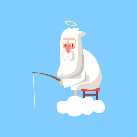 God character in action. Lord sitting on cloud with halo over his head and fishing. Christian theme cartoon style illustration. Flat vector isolated on blue.