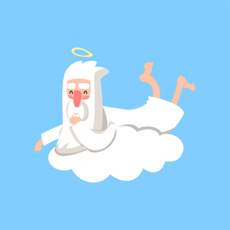 Happy god character resting on white cloud. Creators daily routine. Christian religious theme. Flat vector isolated on blue background. Ilustração
