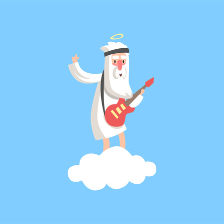 Happy god character standing on fluffy white cloud and playing guitar. Christian religious theme. Flat vector isolated on blue background.
