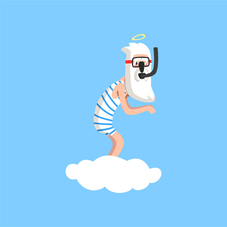 God character in action on white cloud. Almighty bearded man wearing striped swimsuit, mask and snorkel. Flat vector isolated on blue Illustration