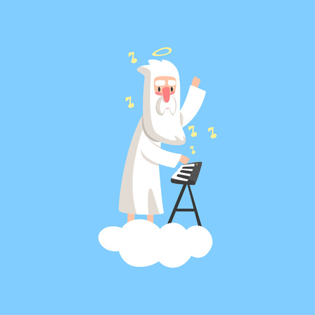 Illustration of almighty bearded god character on fluffy white cloud with halo over his head and playing on synthesizer. Flat religious vector.
