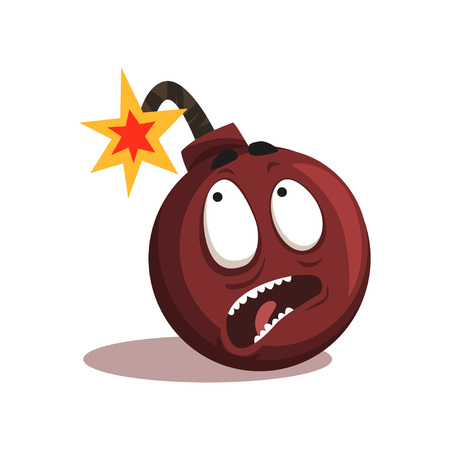 Cartoon emotion bomb with burning wick. Comic character with terrified face expression. Vector illustration in flat style isolated on white background. Graphic design for print, sticker, website icon.  イラスト・ベクター素材
