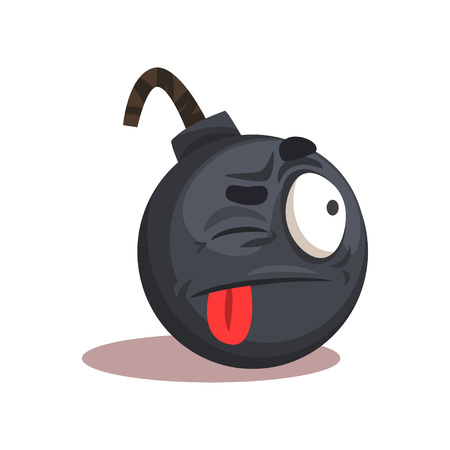Flat vector design of bomb emoji. Face with winking eye and red stuck-out tongue. Cartoon graphic element for mobile app, social network sticker or print Illustration