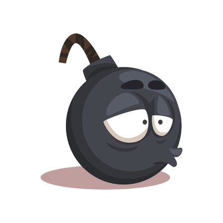 Cartoon funny round bomb. Character with stressed face expression. Vector design for social media, messenger and print. Icon in trendy flat style