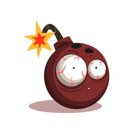 Illustration of round bomb with lit burning fuse. Cartoon character with shocked face expression. Isolated flat vector design for sticker, badge or print