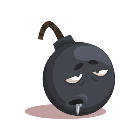 Cartoon character of gray bomb with sick face expression. Colored flat vector design for print, social network sticker or postcard Ilustração