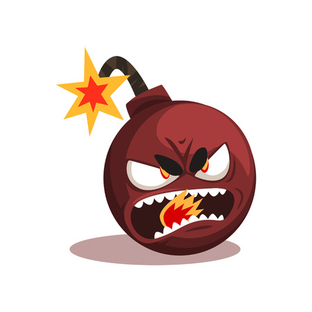 Bomb with lit burning fuse. Ready for explosion. Cartoon character with angry face expression. Flat vector design for emblem, social network sticker or print Иллюстрация