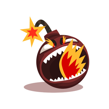 Furious bomb with burning wick. Funny emoticon in flat style. Vector design element for mobile app, social network sticker or print