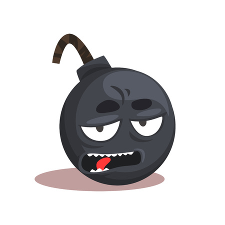 Comic bomb emoji. Cartoon character with bored face expression. Graphic design for mobile application, print or sticker. Symbol in flat style. Vector illustration isolated on white background. Illustration