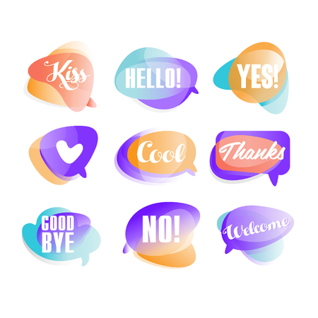 Colorful transparent speech bubbles with short phrases set, bubble balloons vector Illustrations on a white background