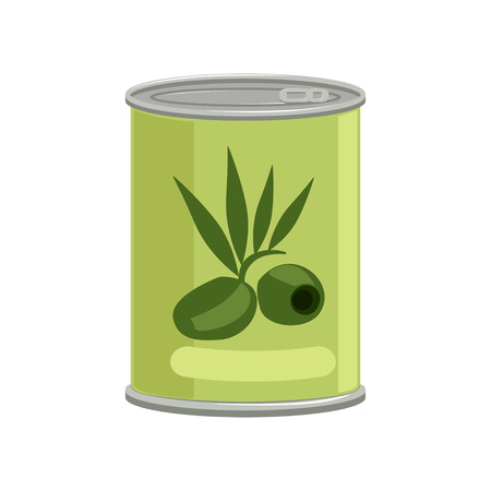 Green olives in metallic can with brand label. Concept of canned food. Tinned goods. Cartoon vector illustration isolated on white background. Flat graphic element for advertising placard or banner.