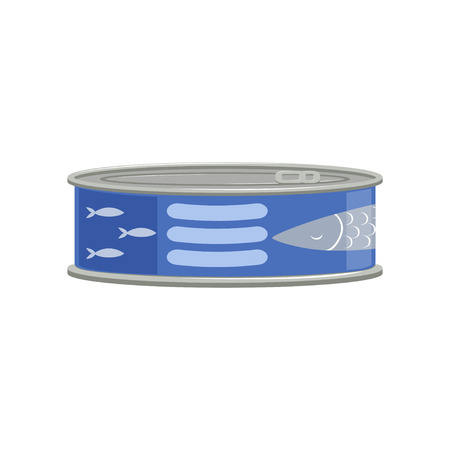 Canned tuna fish or sprat fish in metal container with blue sticker. Tinned goods. Cartoon graphic design isolated on white background. Flat vector illustration for flyer or placard of grocery shop