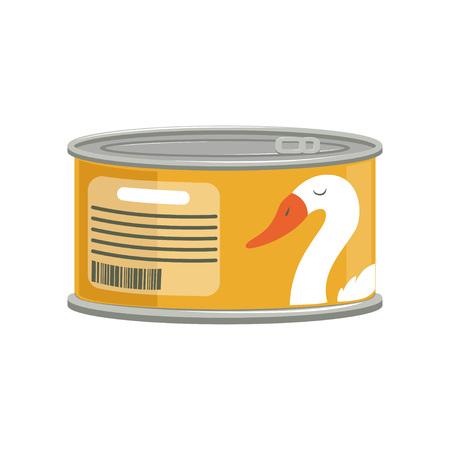 Patê em lata de alumínio com anel de puxar. Branding adesivo com ganso. Conceito de produtos enlatados. Elemento gráfico dos desenhos animados para o cartaz promocional. Ilustração em vetor plana isolada no fundo branco Foto de archivo - 92481777