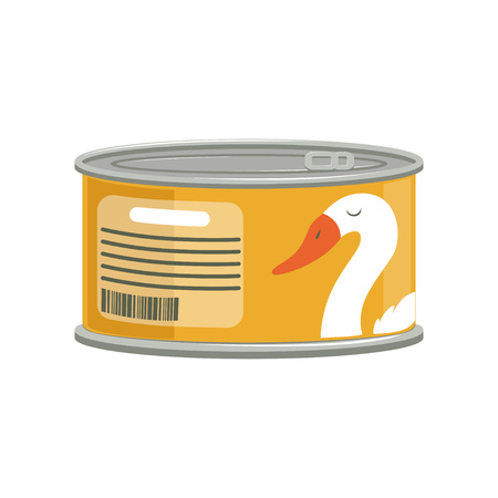 Pate in aluminum can with ring-pull. Branding sticker with goose. Canned goods concept. Cartoon graphic element for promotional poster. Flat vector illustration isolated on white background.