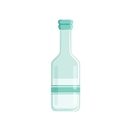 Transparent bottle of vinegar with sticker. Concept of grocery goods. Colored graphic element for promotional poster. Cartoon flat vector illustration isolated on white background. Illusztráció