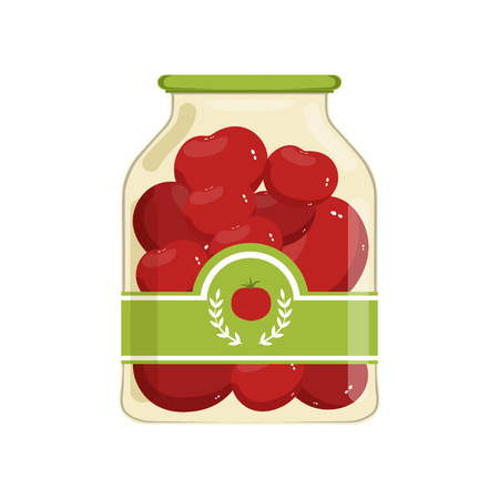 Cartoon glass jar of red marinated tomatoes. Bank with vegetable on brand label. Canned food concept. Ingredients for cooking. Design for poster or flyer. Flat vector illustration isolated on white. Illustration