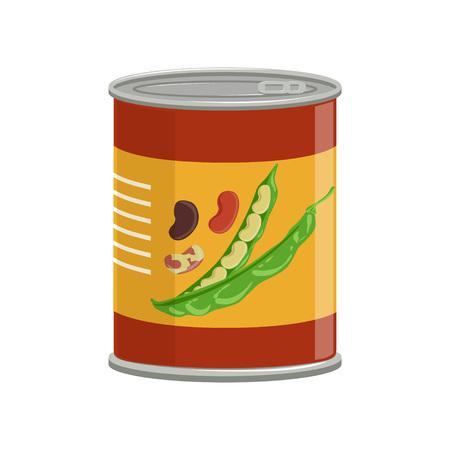 Cartoon aluminium kan met bruine bonen. Conservering van voedsel. Natuurlijk ingeblikt product. Ingrediënt voor het koken. Platte vector design voor kookboek of promo poster Stockfoto - 92483795