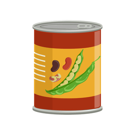Cartoon aluminum can with kidney beans. Food conservation. Natural canned product. Ingredient for cooking. Flat vector design for cookbook or promo poster