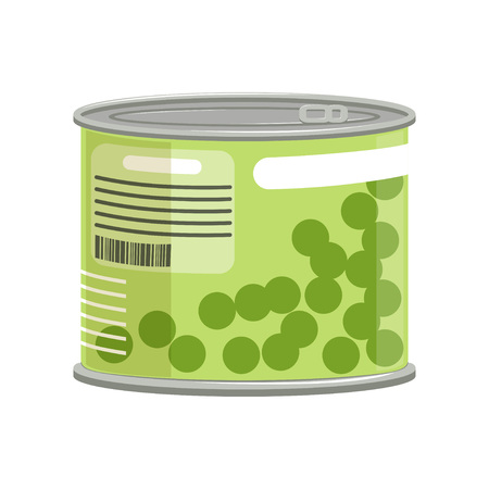 Green peas in metallic can with label and ring-pull. Concept of canned food. Cartoon vector illustration isolated on white. Web icon in flat style. Design element for promotional banner or poster.