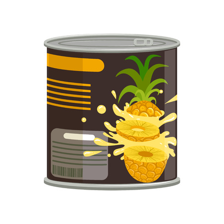 Pineapple slices in aluminum can with ring-pull. Concept of canned tropical fruit. Food conservation. Isolated vector illustration in flat style. Design element for flyer or placard of grocery shop. Иллюстрация