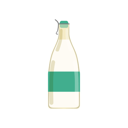 Drinking yogurt, kefir or milk in glass bottle with green sticker. Dairy beverage. Concept of natural product. Design for business or promotional poster. Flat vector illustration isolated on white.