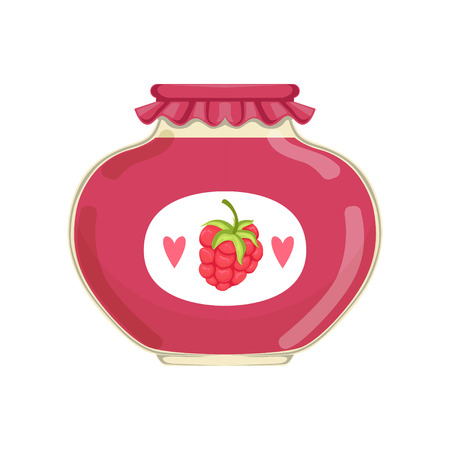 Delicious raspberry jam in glass jar with brand label. Concept of organic product. Bank with canned fruit. Flat vector illustration isolated on white. Design for advertising placard or flyer