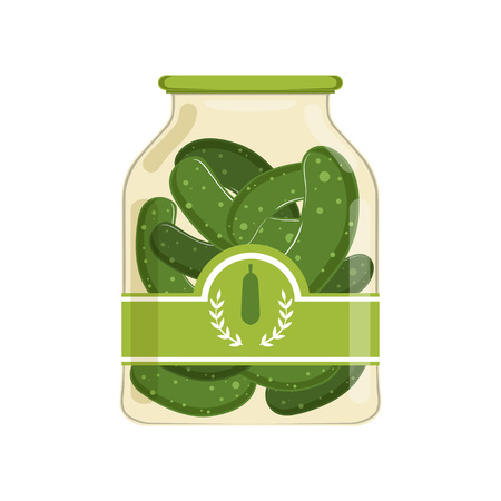 Pickled cucumbers in glass jar with brand label. Organic product. Concept of canned food. Design for product advertising in shop or supermarket. Flat vector illustration isolated on white background.
