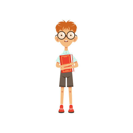 Cartoon nerd schoolboy standing with book in hand. Education concept. Smart kid character with two large front teeth in glasses, shirt and shorts. Flat vector illustration isolated on white background