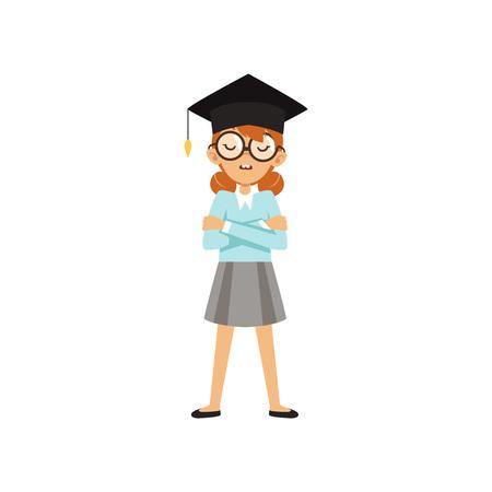 Colière Nerd debout avec les bras croisés dans la casquette de l'étudiant. Personnage de dessin animé enfant à lunettes, chemisier bleu et jupe grise. Personne intelligente confiante. Illustration vectorielle plane isolé sur fond blanc. Banque d'images - 92482866