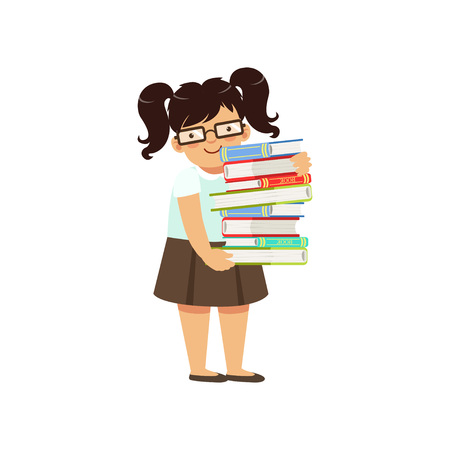Funny fat boy carrying stack of books. Nerd female character with two pony tails in glasses, blouse and skirt. Smart kid in library. Cartoon vector illustration in flat style isolated on white.