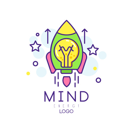 Modern linear illustration with rocket launch, light bulb and stars. Mind energy icon. Innovation project and startup business concept. Colorful vector design for company logo or creative hub.