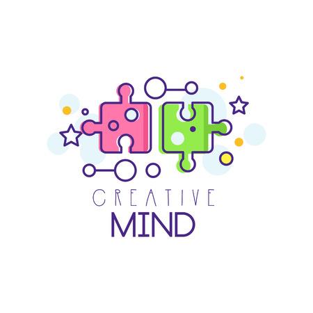 パズルピースとカラフルなイラスト。創造的な心と思考の抽象的なシンボル。学習と教育の概念。開発センターアイコンまたはビジネスエンブレム