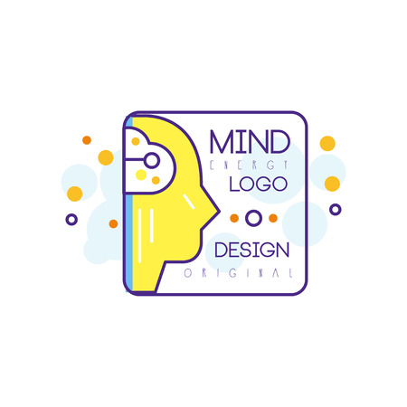 Silhouette of human head in outline style with yellow fill. Mind energy and creative idea. Abstract vector icon for smart technologies company or education center