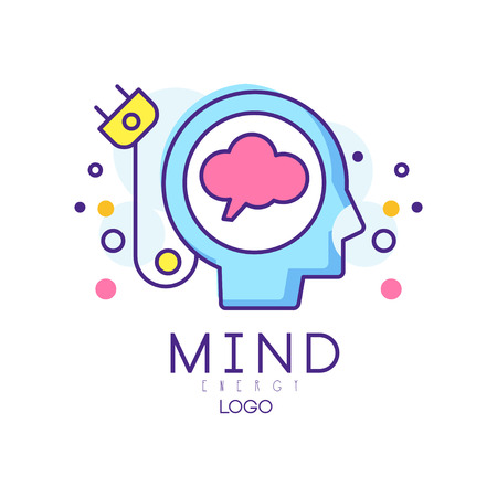 Silhouette of abstract human head with cable plug. Creative mind or generator of ideas. Brain energy sign in outline style. Original vector design for icon or mobile app 向量圖像