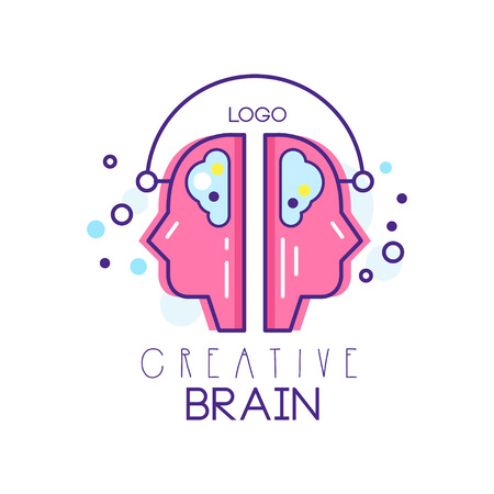 Two people profiles in brainstorming process. Creative brain symbol in outline style with pink fill. Concept of idea creation. Vector for company logo, emblem, label