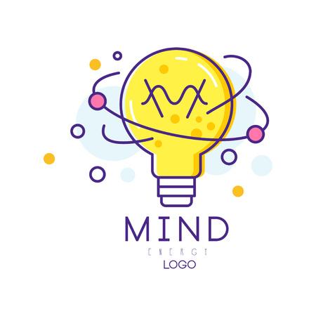 リニアスタイルの電球付きのオリジナルロゴ。マインドエネルギー。創造的なプロセス、アイデアの生成の概念。教育ポスター、カバーパンフレッ