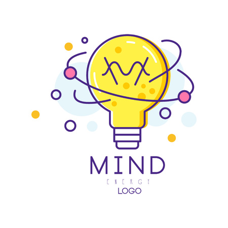 Original logo with light bulb in linear style. Mind energy. Concept of creative process, idea generation. Colorful vector for education poster, cover brochure or business label