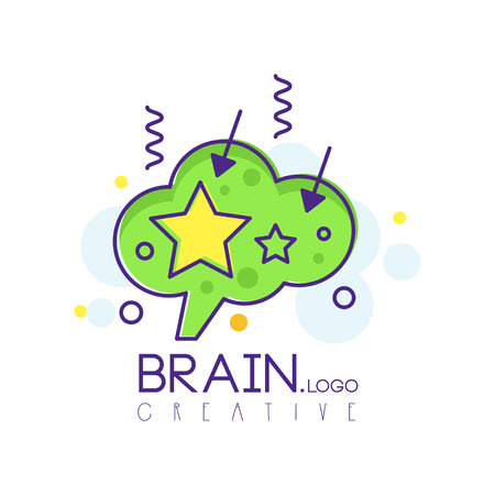 Brain icon in line style with green fill. Intelligence symbol with creative mind. Vector design for corporate identity, infographic, business solution, invention and innovation