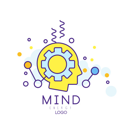 Silhouette of human head with gear. Process of generating ideas, thinking and making decisions. Colorful mind energy symbol. Vector icon for creative hub or business company