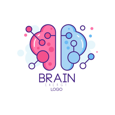 Colorful line art with left and right hemispheres of human brain. Symbol of creative mind and thinking. Vector logo for smart technologies company or development center