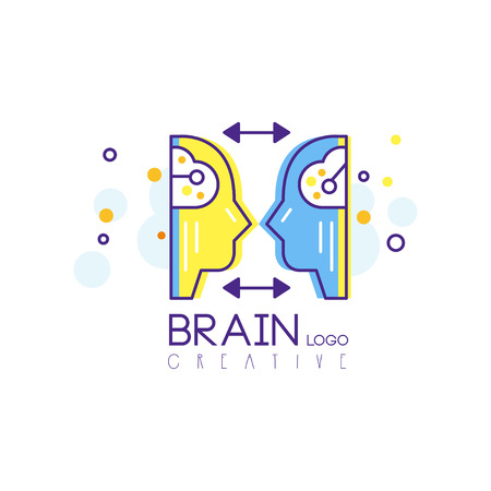 Abstract illustration of human heads with brains, profile view. Concept of business idea and brainstorming infographics. Isolated line vector design. Creative logo for corporate identity, organization